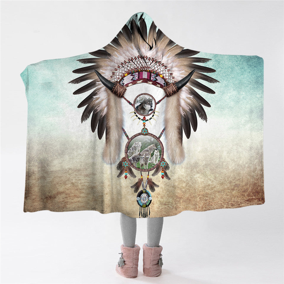 Chief Wolf Dreamcatcher Hooded Blanket - 2 sizes - My Diva Baby