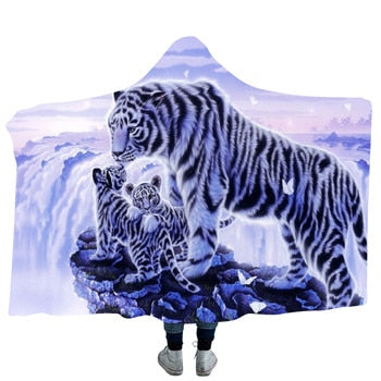 White Tiger & Cubs Hooded Blanket - 2 sizes - My Diva Baby