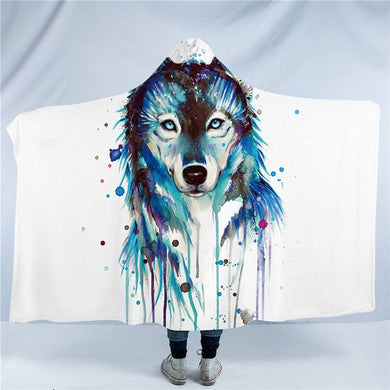 Ice Wolf by Pixie Cold Art - Hooded Blanket - 2 sizes