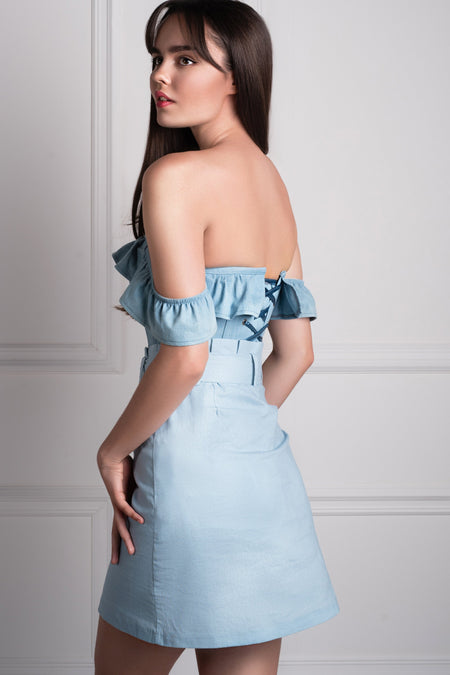 Denim Straight Bustline Corset Top With Off The Shoulder Sleeves