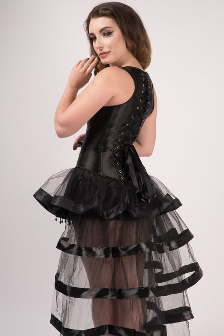 Black High Back Underbust With Straps And Layered Tulle Skirt