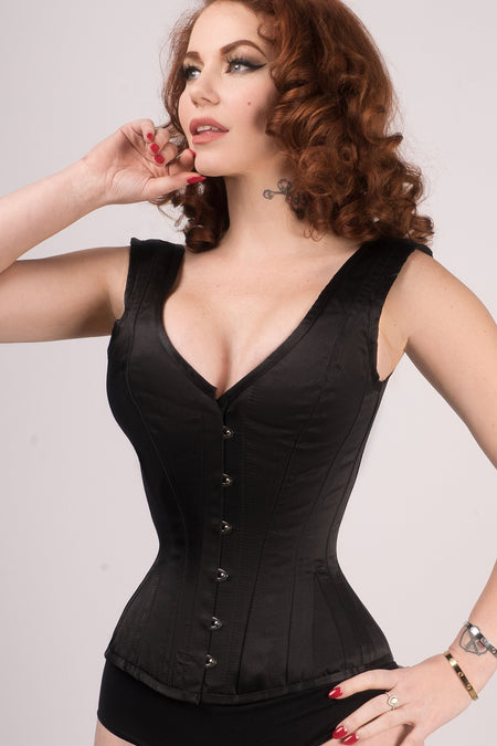 Classic Waist Taming Black Satin Overbust With Straps