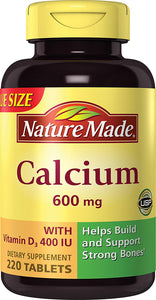 Nature Made Calcium (Carbonate) 600 mg w. D3 400 IU Tablets Mega Size 220 Ct