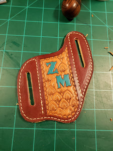Belt slide pocket knife sheath (pouch) template