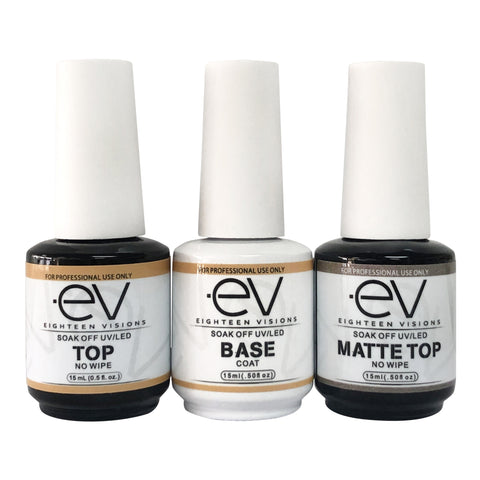 EV Trio GEL BASE & TOP COAT NO WIPE UV/LED CURE