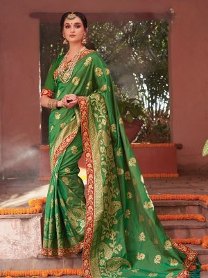 Heavy Embroidered Traditional Indian Wear Saree in Green-Ready to Ship(USA Only) - akalors