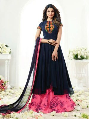 Georgette Abaya Style Kameez in Blue with Skirt - Ready to Ship - Salwar | Akalors