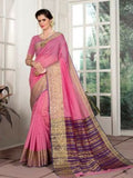 Weaving Silk Zari Work Saree in Fuchsia-Ready to Ship(USA Only) - akalors