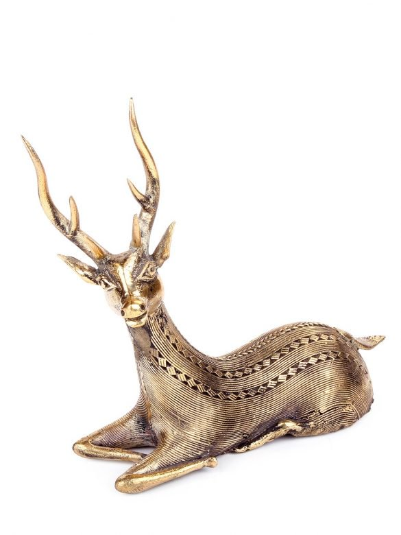 BRASS HANDCRAFTED SITTING DEER