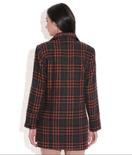 Load image into Gallery viewer, LADIES LONG JACKET SHEEP WOOL BROWN & BLACK CHECK