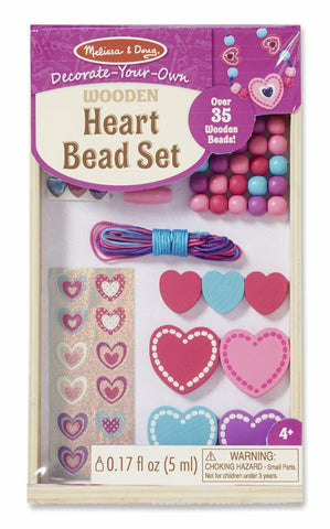 Melissa and Doug - Heart Wooden Bead Set