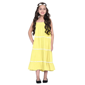 Layla Yellow Dress & Shrug Set for Girls