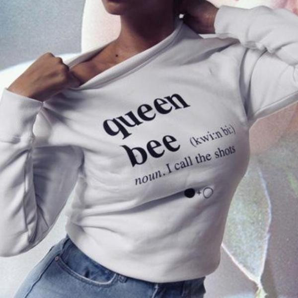 Women Beyonce White Queen Bee Long Sleeve Shirt
