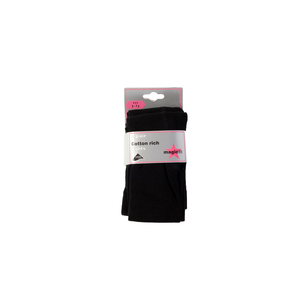 Black Cotton Twin Pack School Tights