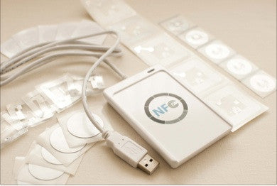 NFC Hacker Starter Kit - USB Writer + Variety Sample NFC Stickers - FREE Mac Software  Link