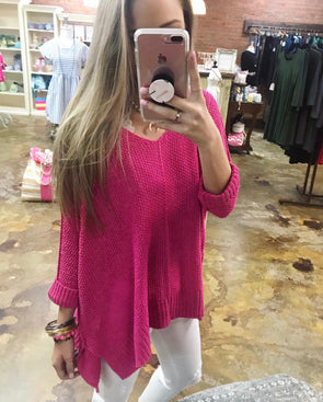 Pink Basic Tunic Sweater