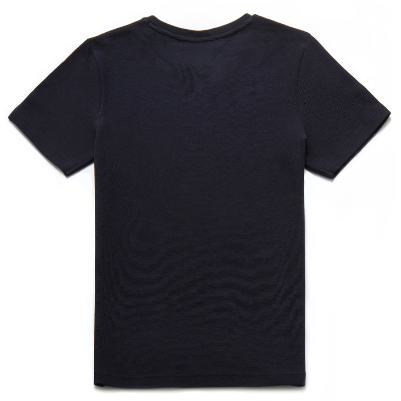 Paolo Rib Textured Crew Neck T-Shirt in Navy - Nines Collection