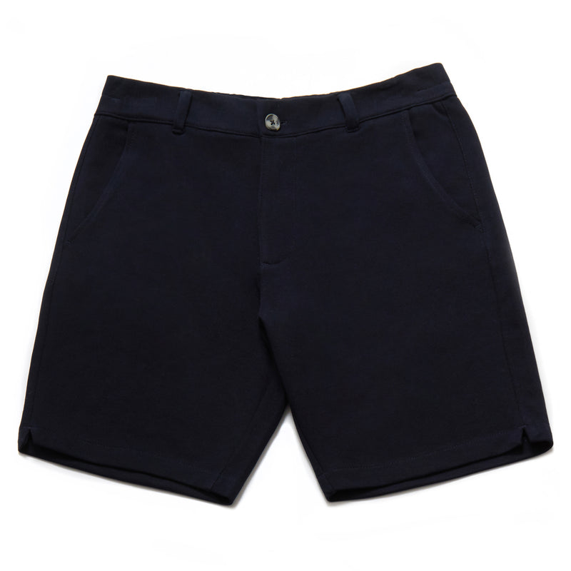 Hydra Cotton Blend Pique Shorts in Navy - Nines Collection