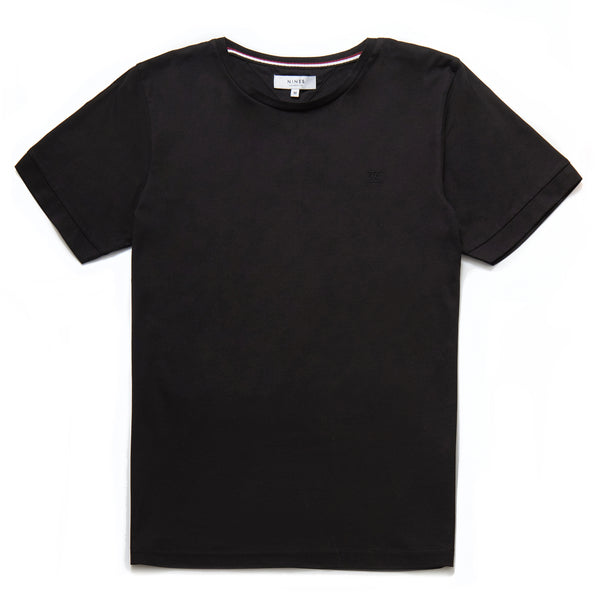 Finnegan Mercerised Roman Numeral T-Shirt in Black - Nines Collection