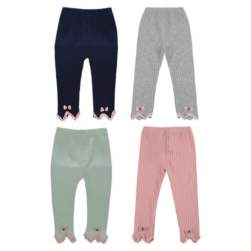 Kids Girls Cute Fashion Knitting Leggings Baby Girls Spring Autumn Cotton Solid Color Warm Pants Long Tight Pants