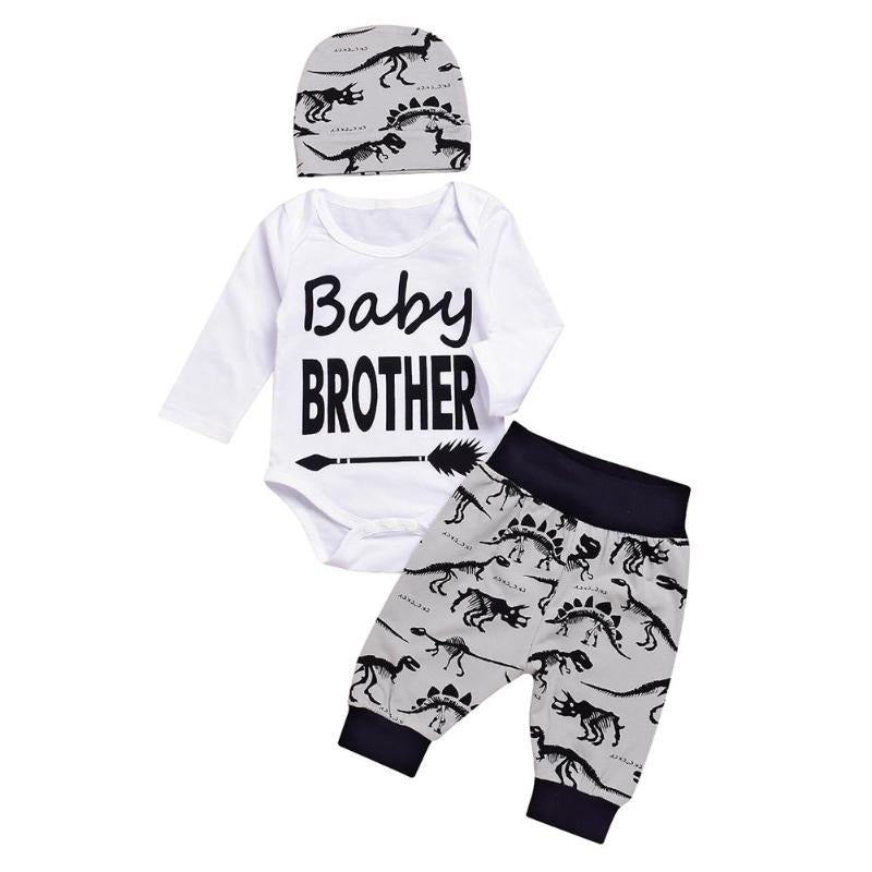 3PCS/Set Newborn Baby Girls Boys Clothes Set Baby Fashion Long Sleeve Cotton Letters Print Romper + Pants + Hat Infant Outfits