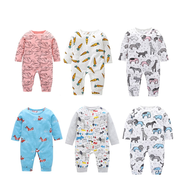 Fashion Newborn Baby Boys Girls Romper BabyCartoon Animal Printed Long Sleeve Romper Newborn Infant Indoor Outfits Clothing