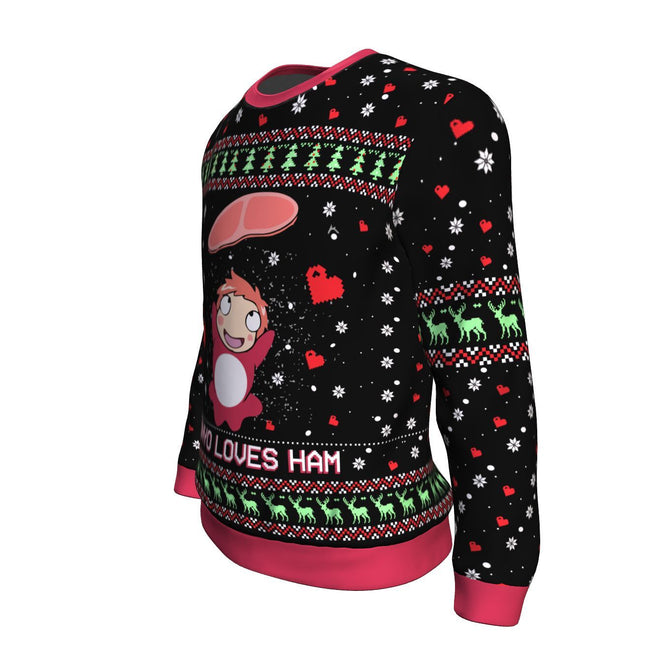 Ghibli Ponyo Loves Ham 3D Ugly Christmas Sweater
