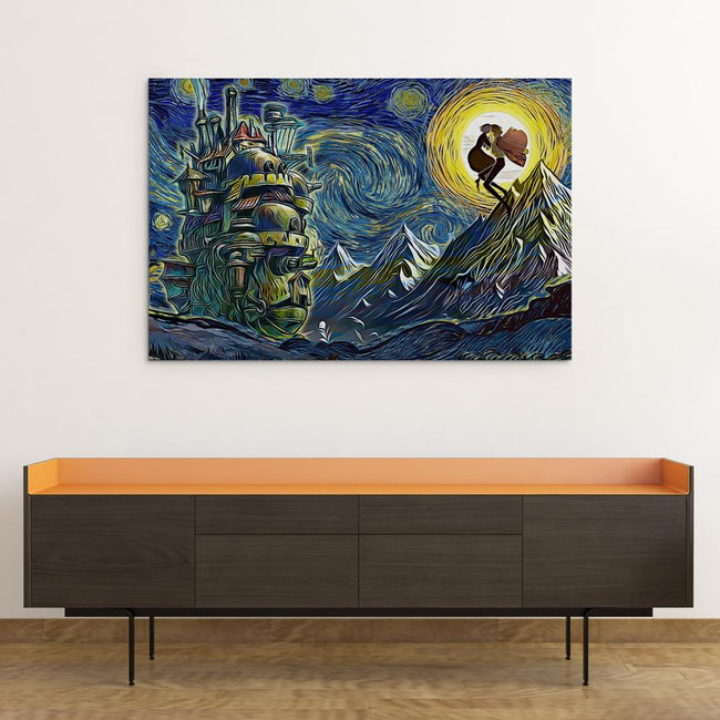 Ghibli Starry Night Howl's Moving Castle Canvas Wall Art