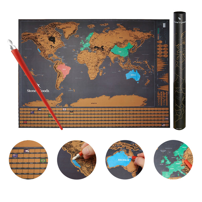 CLEARANCE - Black Scratch Off Travel Map