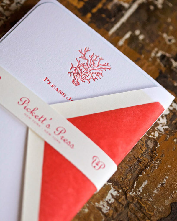 Coral Fill In Invitations