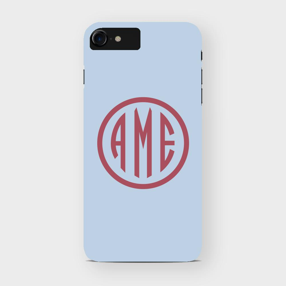 Bluebell and Red Monogram iPhone Case