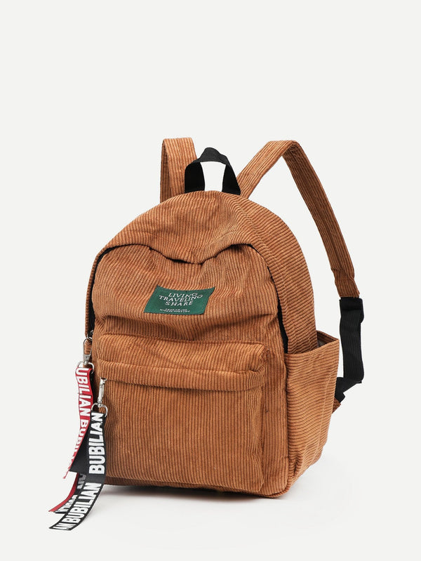 Sophia Corduroy School Backpack (Brown)