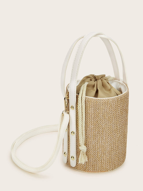 Clover's Woven Bucket Bag With Drawstring
