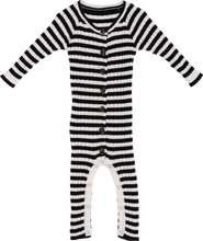 Load image into Gallery viewer, Ribbed Stripe Jumpsuit - Black / Snow