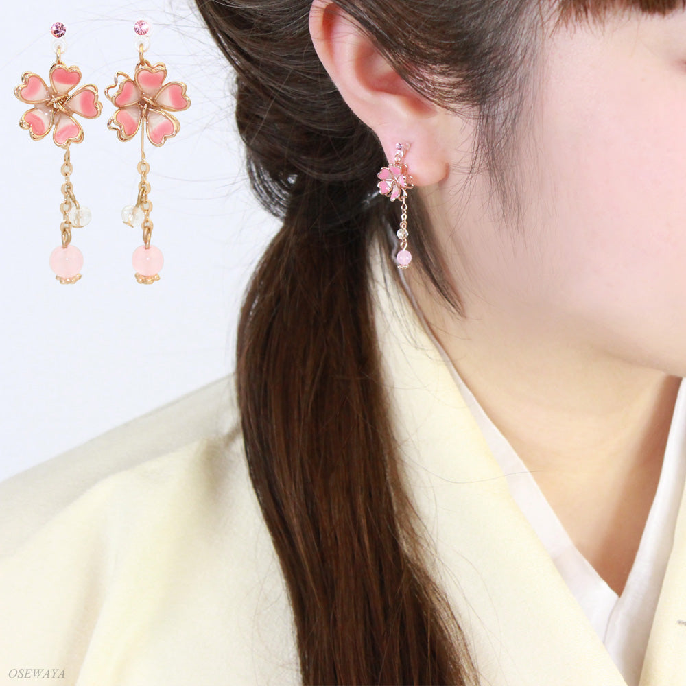 Sakura Dangling Invisible Clip On Earrings