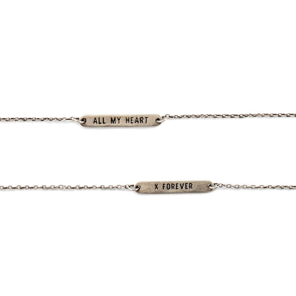 Reversible Sterling Silver Vintage Chain Love Quote Bracelet
