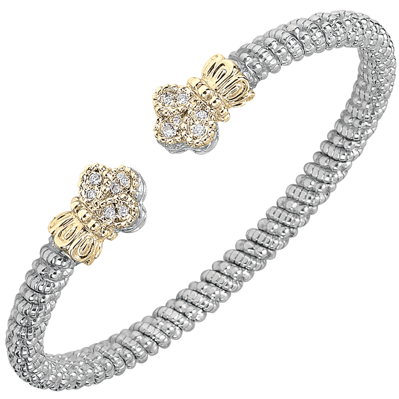 VAHAN Sterling Silver & 14K Gold - 0.12cttw Diamonds - 4 mm Width