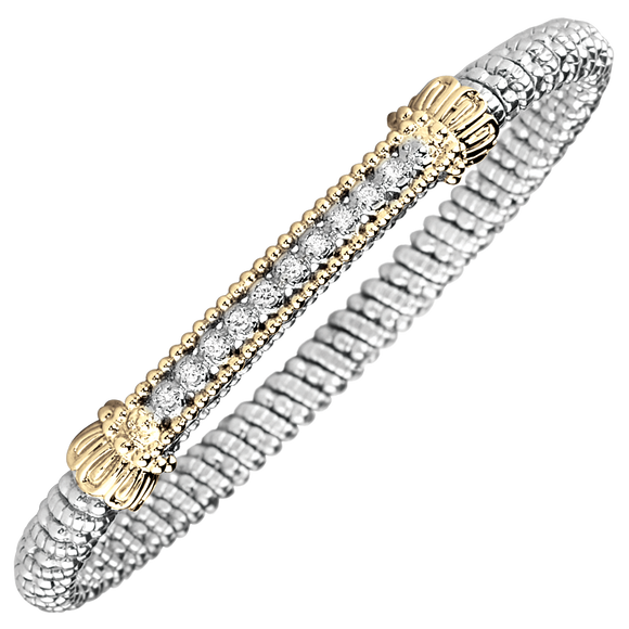 Vahan Bracelets ~ Sterling Silver & 14K Gold ~  0.15cttw Diamonds ~ 4mm Width