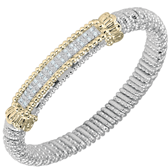 Vahan Bracelets: Vahan Jewelry for Women: Sterling Silver & 14K Gold with 0.26cttw Round-Cut Diamonds (G-H Color, VS2-SI1 Clarity) Width of 8mm