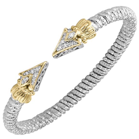 Vahan Bracelets: Vahan Jewelry for Women: Sterling Silver & 14K Gold with 0.19cttw Round-Cut Diamonds (G-H Color, VS2-SI1 Clarity) Width of 4mm