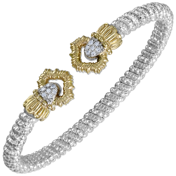 VAHAN Sterling Silver & 14K Gold - 0.11cttw Diamonds - 4 mm Width