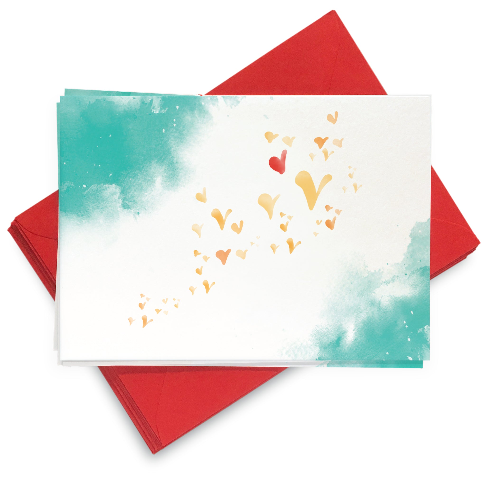 Flutterby Hearts - Blue and Teal: Pack of 8 Cards