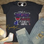 Patriots and Wine Rhinestone Bougie Tee
