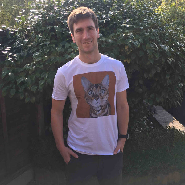 man wearing cat t-shirt