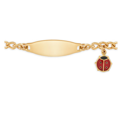 My First ID Bracelet with Plaque and Lady Bug Charm Silver & Gold Tone
