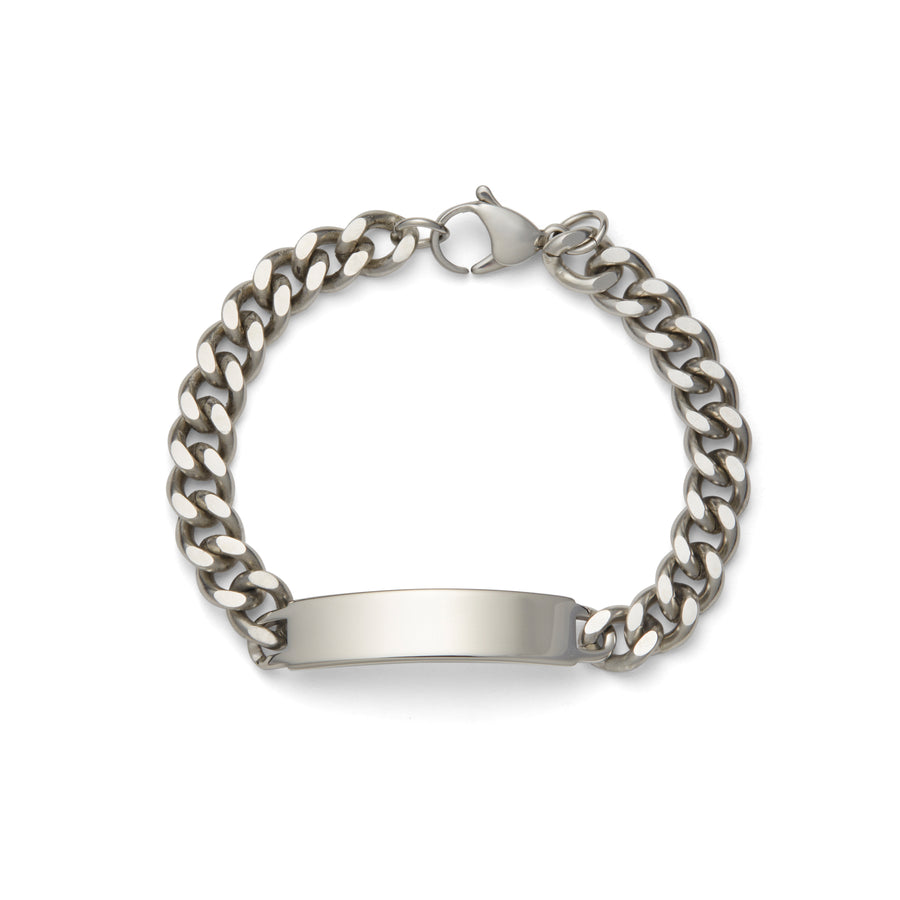 Men's ID Bracelet with Polished Plaque Silver Tone