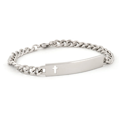 Ladies' ID Bracelet with Cut Out Cross Plaque Silver Tone