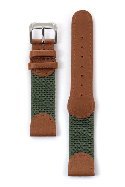 Mens Swiss Army Style Leather Watchband in Black, Tan and Green