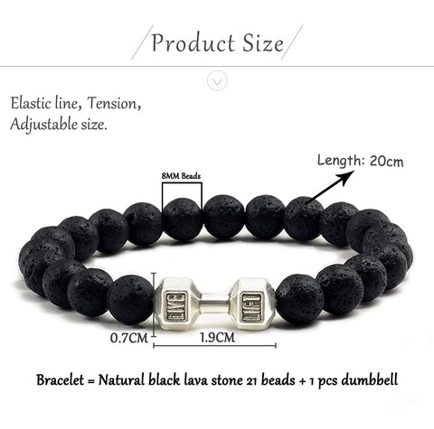 Natural Black Volcanic Lava Stone Dumbbell Bracelet black Matte Beads Bracelets For Women Men Fitness Barbell Jewelry Pulseras - Pro Lyfstyle Store