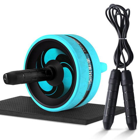 No Noise Abdominal Wheel Ab Roller with Mat & Jump Rope Get-Fit Exercise Equipment Kit
